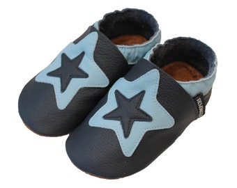 Navy Star Shoes, Toddler Boy Shoes, baby girl Shoes, Leather Baby Shoes, Soft Baby Shoes, Soft Sole Shoes, Baby Shoes, Handmade Australia