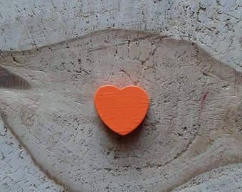 Orange heart wood bead