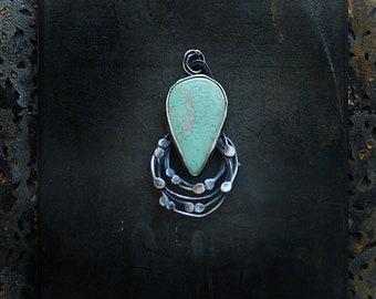 Variscite Silver Pendant, Ocean Necklace, Beach Jewelry, Mint Green Necklace, Surfer Necklace, Ocean Lover Gift, Minimalist Pendant