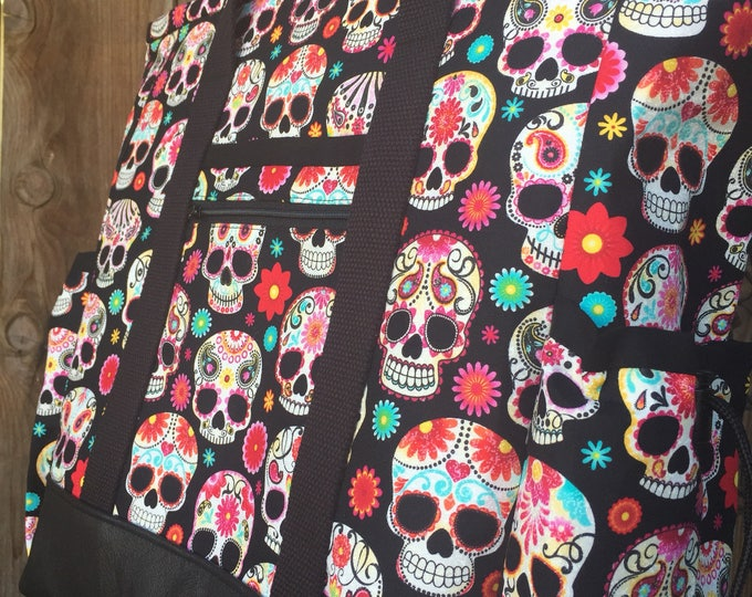 Teacher Tote Bag, Sugar Skull Travel Tote, Leather Bottom Large Tote Bag with Pockets, Diaper Bag, Professional Tote, Nurse Tote Bag