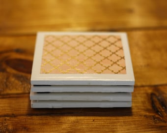 Set of Four Bohemain Pink and Gold Coasters