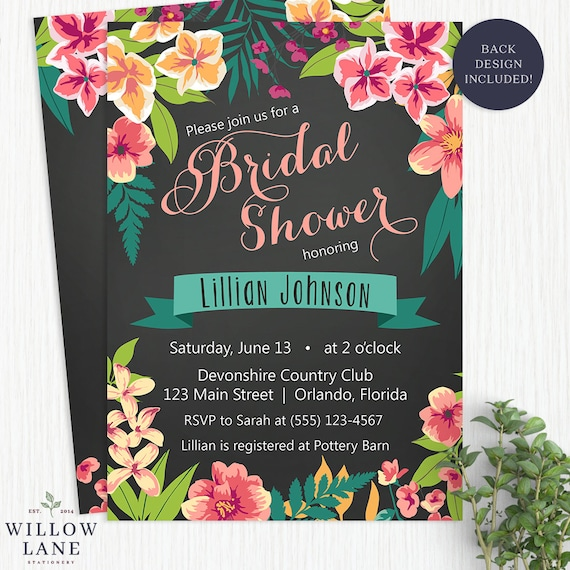 Chalkboard tropical bridal shower invitation island flowers like this item filmwisefo Image collections