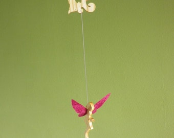 wooden fairy and paper mobile