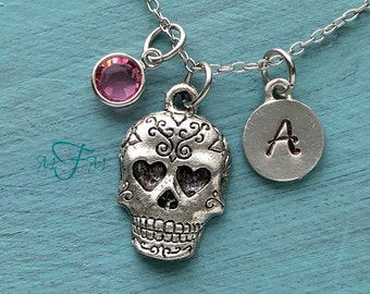 Sugar Skull Charm Necklace, Personalized Necklace, Silver Pewter Day Of The Dead Charm, Dia de los Muertos Necklace, Skull Necklace