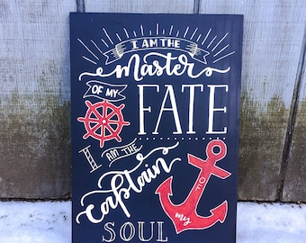 Nautical Beach Decor|Nautical Decor|Navy Wall Decor|Hand Lettering Inspirational Wall Art|Coastal Wall Art|Sailing Captain Wood Sign