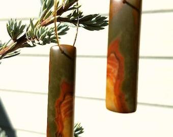 Red Creek Jasper on Gold Plated Hoop Earrings