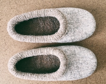 ON SALE 25% Slippers/ Organic wool hand felted slippers in women's size UK 6 / Simple and Eco friendly felted wool slippers by Onstail