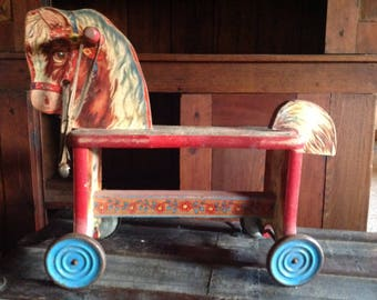 Vintage pony riding toy with wheels