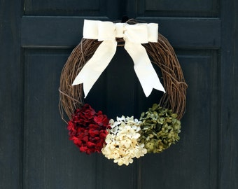 Rustic Christmas Grapevine Wreath with Burgundy Red, Cream (Off-White) and Green Faux Hydrangeas and Bow for Holiday Front Door Porch Decor