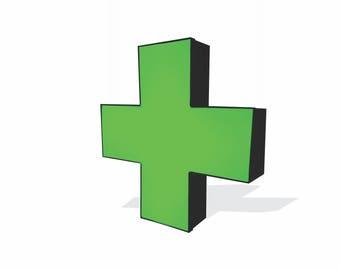 Handmade LED Green Cross