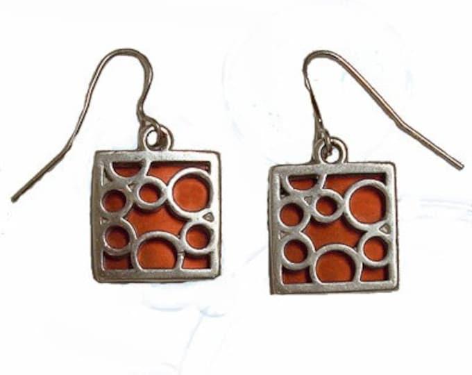 small orange square bubble earrings