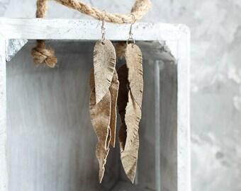 Taupe beige suede leather Feather Earrings, layered earrings, tribal Earrings, Boho earrings, dangle earrings, long earrings