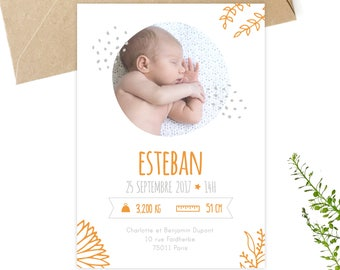 Petipeu birthstones to customize, download, printable invitations, stationery, announcing birth, baby, baby card, orange
