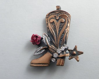 Cowgirl Boot Brooch, Textured Tooled Boot, Cowboy Rose, Boot Spur, Country and Western, Western Boot Pin