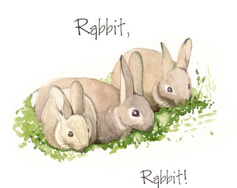 Rabbit card, hello, get well soon, thinking of you, greeting