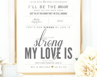"""Light Gray, Gold, """"How Strong My Love Is"""" - Valentine's, Wedding Gift, Cotton, Paper Anniversary Gift, Song Lyrics, Art Print"""