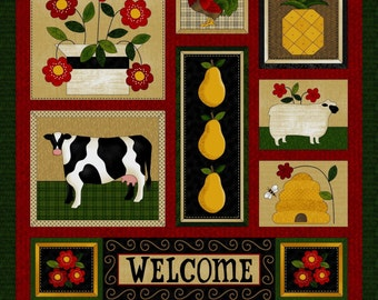 """NEW Folk Art Fabric Panel 24"""" x 44""""  for Quilt or Craft"""