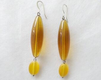 Golden Yellow Oblong Drop Earrings