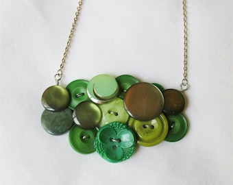 Green Button Bib Jewelry Necklace - Jewellery Vintage Statement Chunky - For Women Lime Olive Her Ombre - Teens Gift Retro On Trend