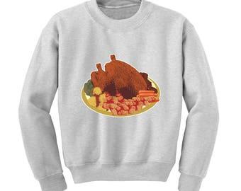 ROAST DINNER Graphic Sweatshirt Christmas Jumper Xmas Turkey Winter Clothing