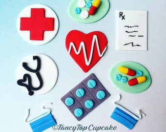 Doctor /nurse/surgeon (qty 12)fondant handmade cupcake toppers made by FancyTopCupcake