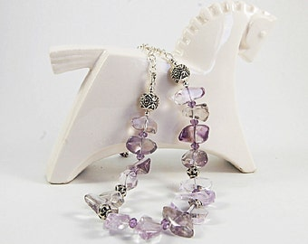 Amethyst nuggets necklace, Gemstone necklace, Gemstone jewelry, Semiprecious stone necklace, Thai silver beads,