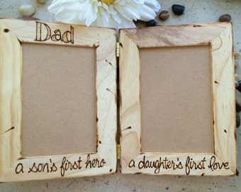 Dad a Son's First Hero, A Daughter's First Love VALENTINE's Day Hinged Wood Frames Holds 2 Photos - Perfect for a Special Father