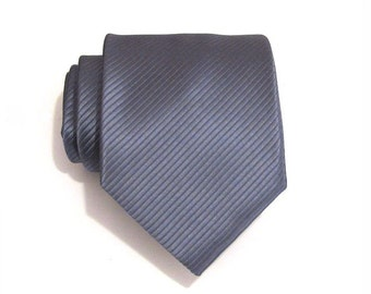 Mens Ties. Necktie Mens Tie - Gray Stripe Silk Tie