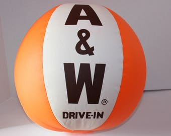 "Vintage 1970's A & W Drive-In  Promotional 16"" Inflatable Beach Ball"