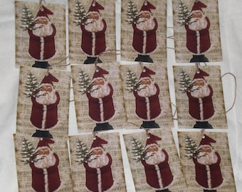 Set of 12 Primitive Folk Art Vintage Santa Claus Belsnickle Christmas Holiday Card Stock Hang Tags Tie Ons Gift Tags Tree Ornaments