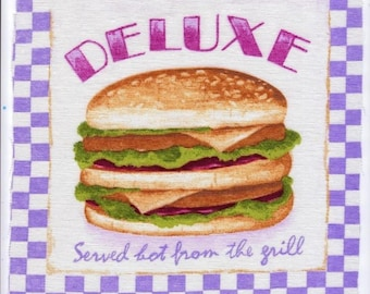 Used for sewing or craft: image Deluxe Burger, Fast Food US vintage and in English 20 x 20 cm