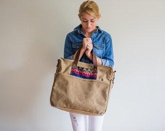 Waxed Canvas Diaper Bag Wheat Tan