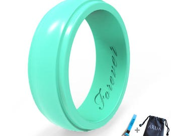 ARUA Womens Silicone Rings 5 Glossy Wedding Bands Gift