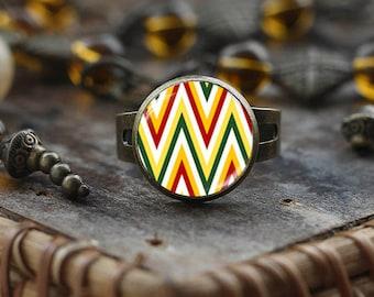 Chevron ring, colorful Chevron print ring, Geometric ring, Chevron print ring, Chevron Jewelry,