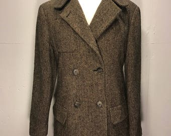 DKNY  80s double breast military style hounds tooth wool jacket