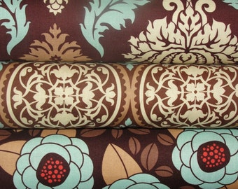 Joel Dewberry Fabric Bundle, Aviary 2, Damask, Scrollwork, and Bloom in Bark, Full Yard Bundle, 3 Yards Total