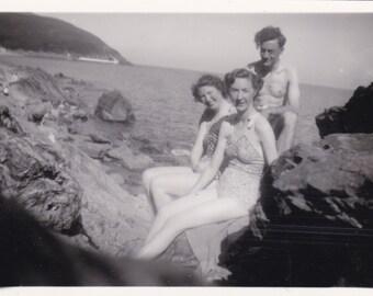 Seaside Smiles - Vintage Snapshot Photograph