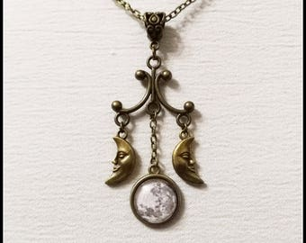 Triple moon necklace, triple goddess pendant, wiccan jewelry, witch necklace, witchcraft jewelry, pagan jewelry, bronze crescent moon