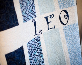 Boy's Custom Quilt, Baby Blue Quilt for Newborns, It's A Boy Quilt, Personalized, Modern, Handmade Baby Quilt for Sale