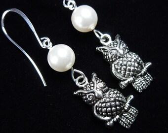 Night Owl Under Full Moon earrings - cute silvertone owls under pearl moon on silver earring hooks -Free Shipping USA