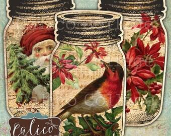 Golden Christmas, Printable, Digital Tags, Mason Jar Tags, Junk Journal Tags, Printable Ephemera, Holidays, Winter, Festive, Calico Collage