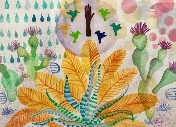 Art, Painting, Watercolor, Folk Art, Bird, Feathers, Succulent, Cactus, Full Moon