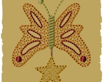 Primitive Machine Embroidery Design-Butterfly Spring Ornie-- (4x4)-INSTANT DOWNLOAD