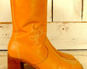 Vintage tan leather western style mid calf boots