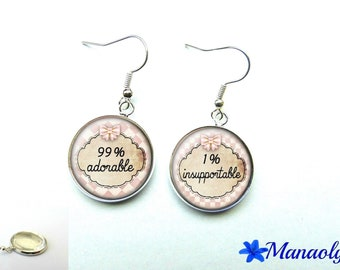 Fun earrings, silver, adorable, Pink Plaid 893 glass cabochons