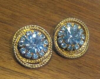 "Fabulous Aquamarine Light Blue Rhinestone Goldtone Clip Earrings 1"""