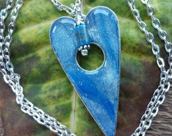 Heart Necklace, Faux Kyanite Pendant, Polymer Clay Pendant, Pendant Necklace, Blue Pendant, Heart Pendant, Bohemian Jewelry