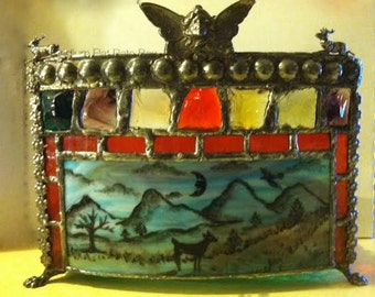 Victorian Woodland Deer Stained Glass Painted Candle Holder w Curved Glass