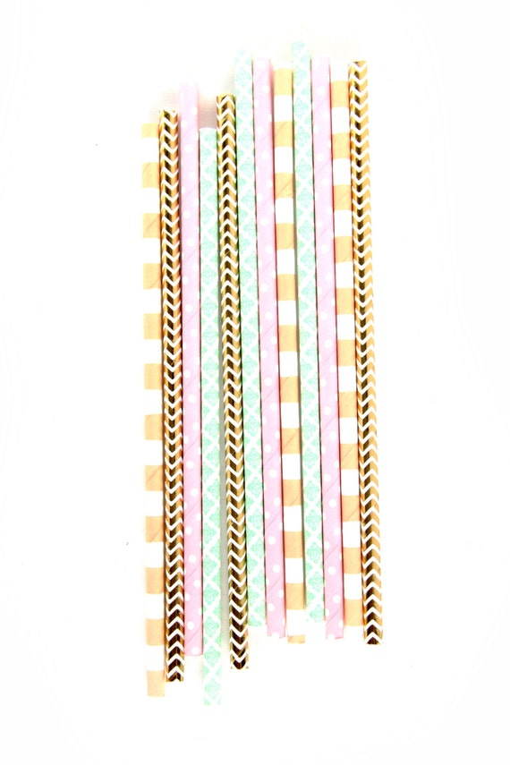 Jamboree Celebration Straw, Paper Straw, Pink Peach Mint Gold Straw, Baby Shower, Wedding Decor Happy Hour Drinks Engagement Bridal Birthday