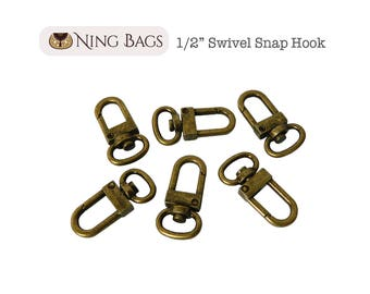 "Set of 6 // 1/2"" Swivel Snap Hook, Strap Hook, Swivel Clasp Hook for Bags, Purses, Clutches (Antique Brass) ***NEW***"